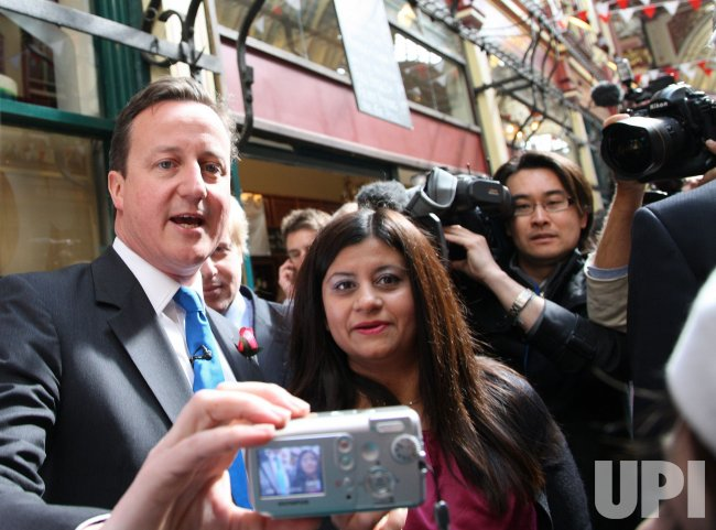Conservative Party leader Cameron campaigns in London