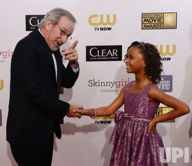 Steven Spielberg and Quvenzhane Wallis attend the Critic's Choice Movie Awards in Santa Monica, California