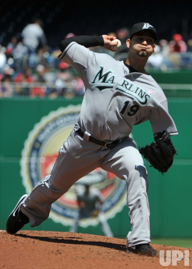 Marlins' pitcher Anibal Sanchez pitches against the Washington Nationals in Washington