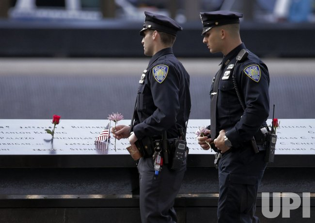 Police at the Reflecting Pools at 9/11