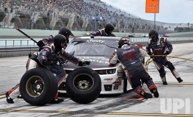 Ty Dillon makes pit syop at the NASCAR Xfinity EcoBoost 300 Race in Homestead, Florida