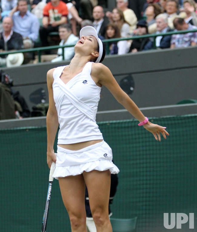 Tsvetana Pironkova reacts at Wimbledon.