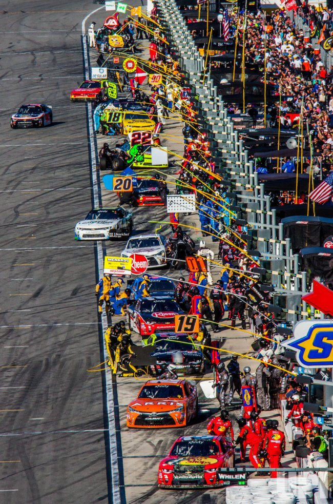 Early Pit Action In The 35th Annual Poweshares QQQ 300 at Daytona