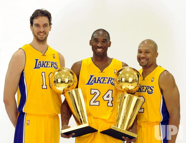 Pau Gasol, Kobe Bryant and Derek Fisher participate in Lakers media day at El Segundo, California