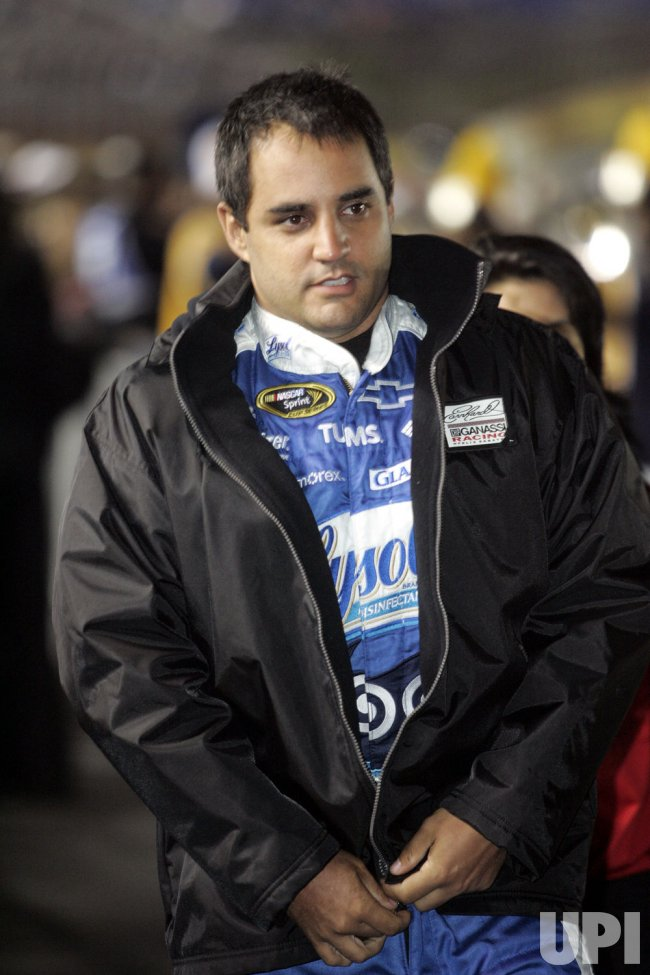 NASCAR driver Juan Pable Montoya before the Banking 500 race at Lowe's Motor Speedway in Concord, North Carolina