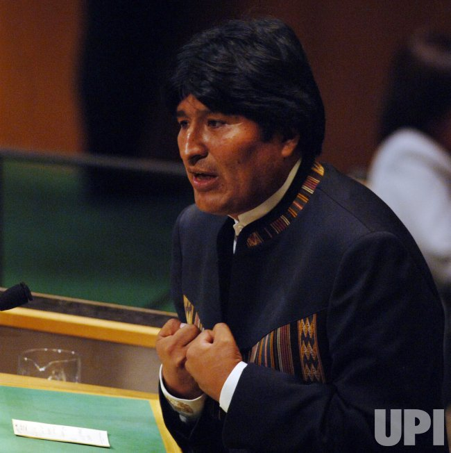 PRESIDENT EVO MORALES AYMA OF BOLIVIA SPEAKS AT THE UNITED NATIONS IN NEW YORK