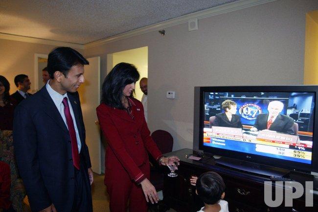 Gubernatorial candidate Bobby Jindal election night in Baton Rouge