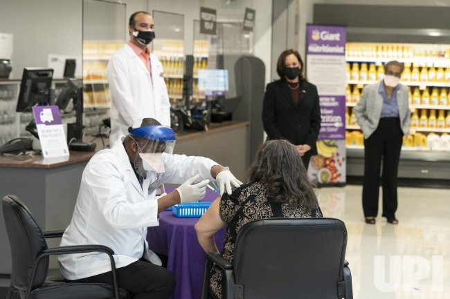 VP Kamala Harris visits a COVID-19 Vaccination Facility in Washington, DC
