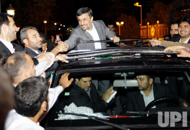 Iranian President Mahmoud Ahmadinejad returns to Tehran,Iran