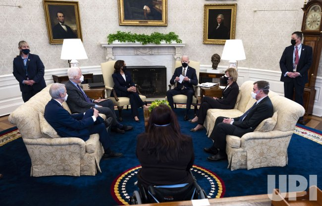 President Biden meets with Senators on U.S. Supply Chain at the White House