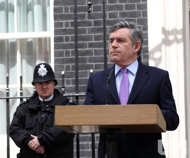 Prime Minister Gordon Brown speaks to the media at No.10 Downing St.