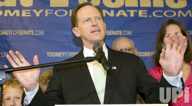 Pat Toomey greets supporters at victory rally after winning the election for Pennsylvania U.S. Senator .