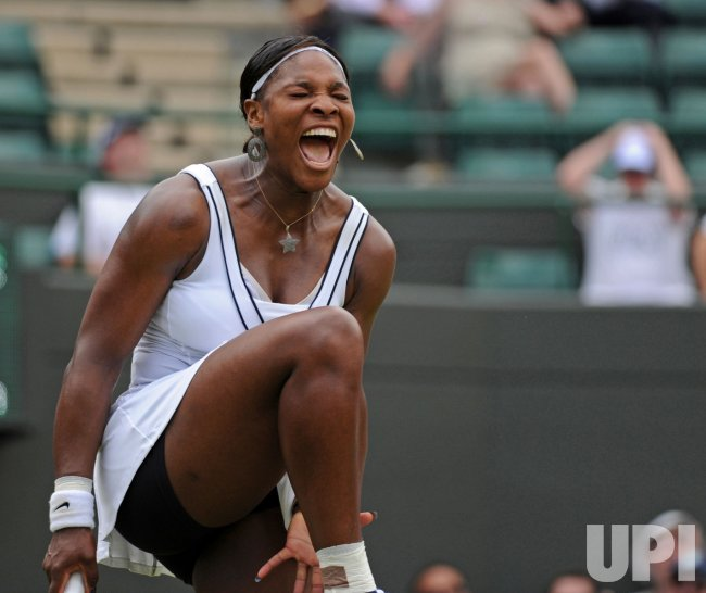 Serena Williams reacts at Wimbledon.