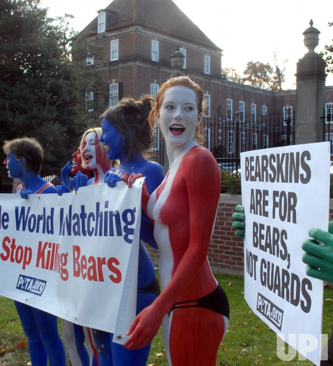 PETA protests England's ceremonial bearskin hats at British Embassy in Washington