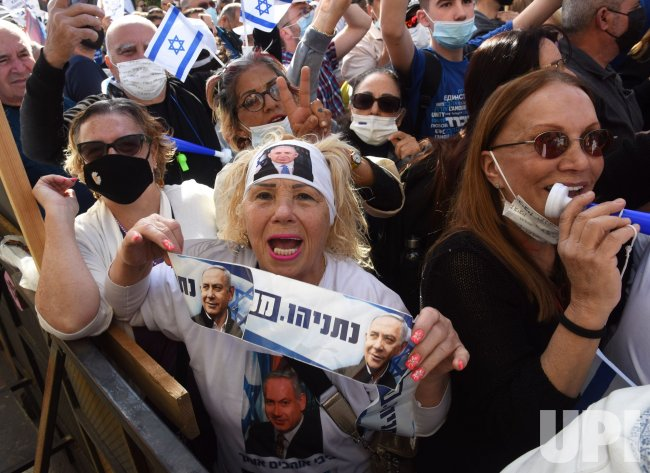 Israelis Protest Outside PM Benjamin Netanyahu Corruption Trial