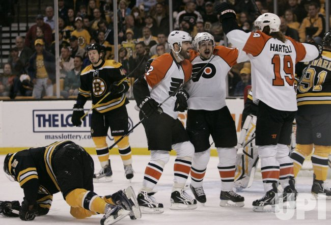 Flyers Hartnell celebrates against Bruins in Game 5 of the NHL Eastern Conference Semi-Final in Boston, MA.