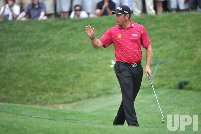 Lee Westwood reacts after making birdie at the US Open in Maryland