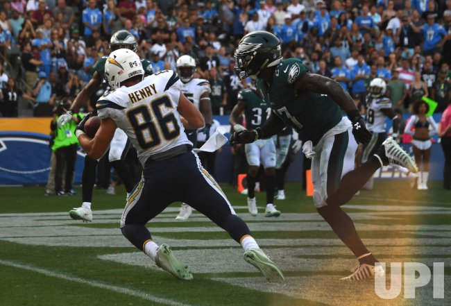 Chargers' Henry scores against the Eagles in Carson, California