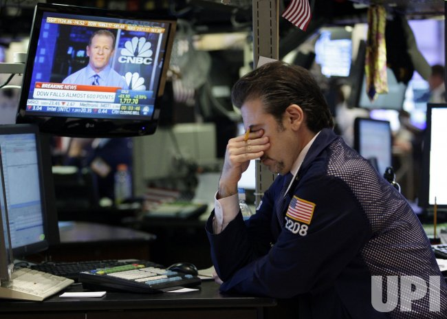 The Dow Falls Over 5% at the NYSE on Wall Street in New York