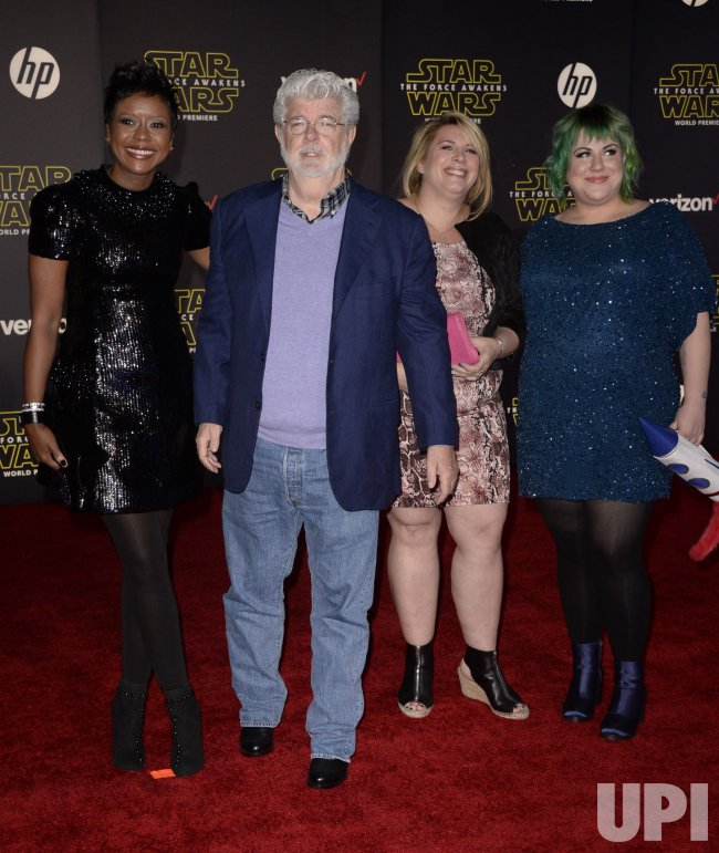 "George Lucas and family attend attend the premiere of ""Star Wars: The Force Awakens"" in Hollywood"