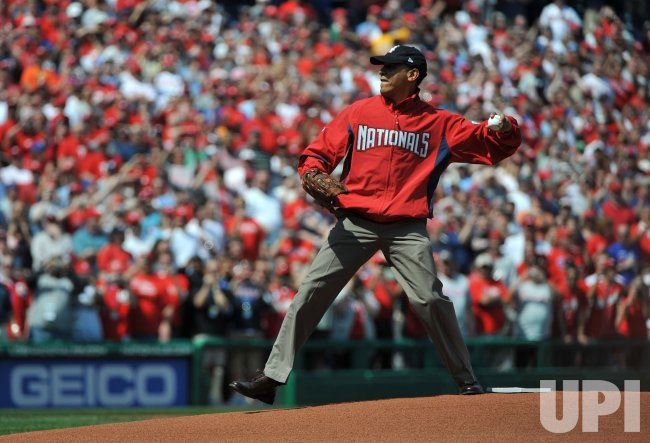 President Obama throws out the opening pitch of the Nationals' 2010 Season in Washington