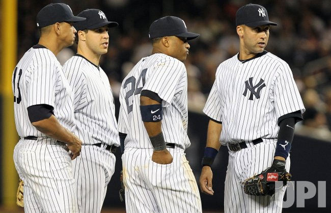 New York Yankees Derek Jeter, Robinson Cano, Mark Teixeira and Alex Rodriguez at Yankee Stadium in New York