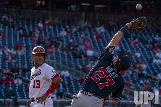 Atlanta Braves First Baseman Austin Riley Catches Popup