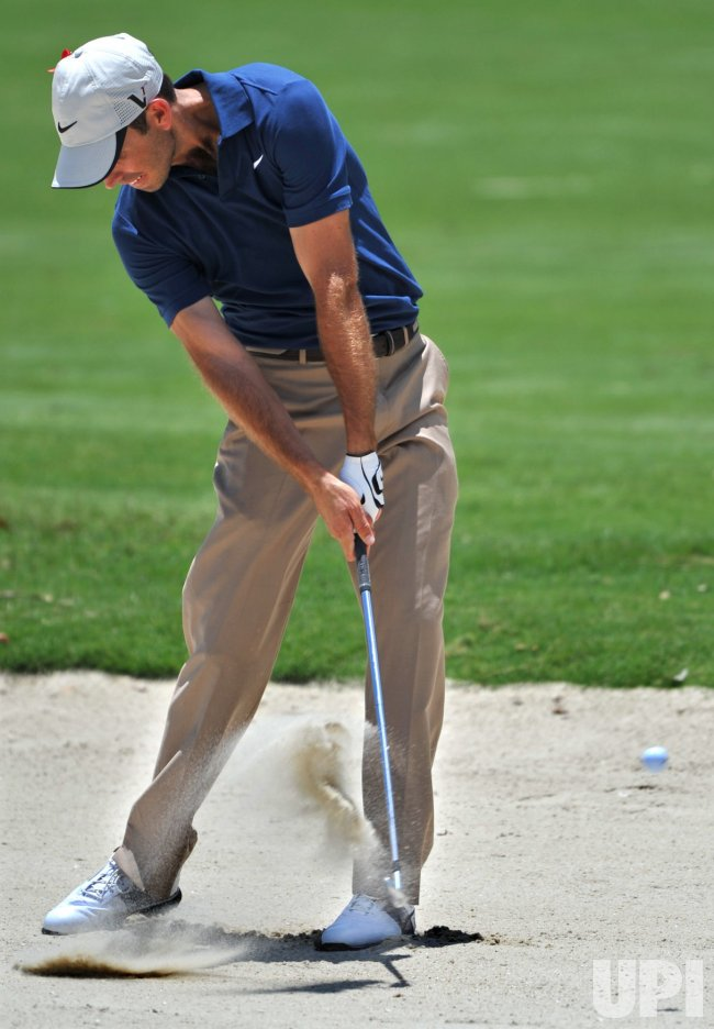 Charl Schwartzel hits a shot from a fairway bunker during the TPC Players in Florida