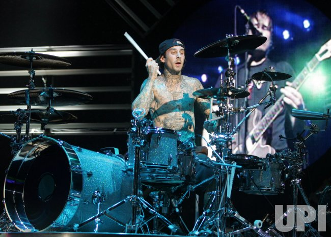 Travis Barker performs in concert in West Palm Beach, Florida