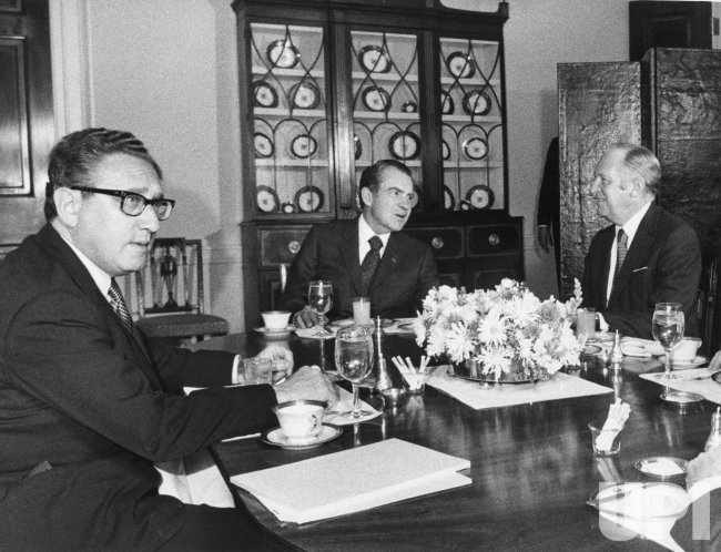 President Nixon meets William Rogers and Henry Kissinger to discuss Middle East peace prospects