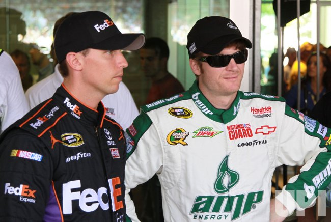 Denny Hamilin and Dale Earnhardt Jr. talk before the Brickyard 400