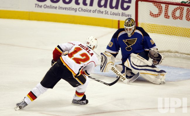 Calgary Flames Jarome Iginia and St. Louis Blues Chris Mason