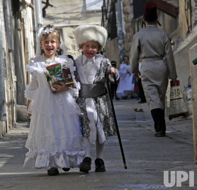 Ultra-Orthodox Israelis celebrate Purim in Jerusalem