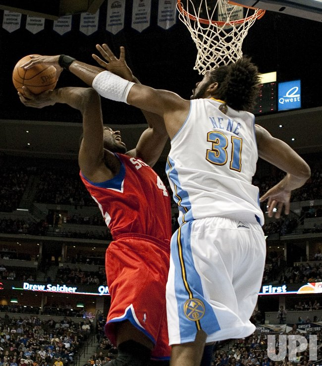 Nuggets Nene Blocks 76ers Brand's Shot in Denver
