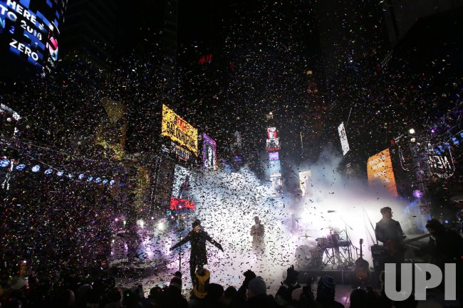 Nick Jonas performs on New Year's Eve in Times Square