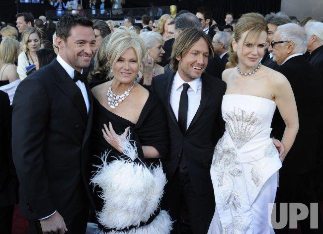 Hugh Jackman and wife Deborra-Lee Furness, Kieth Urban and Nicole Kidman arrive at the 83rd annual Academy Awards in Hollywood