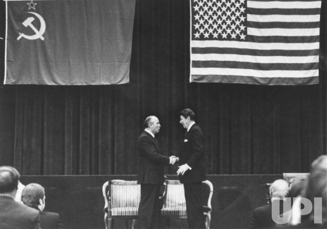 President Reagan and Mikhail Gorbachev at Center Stage