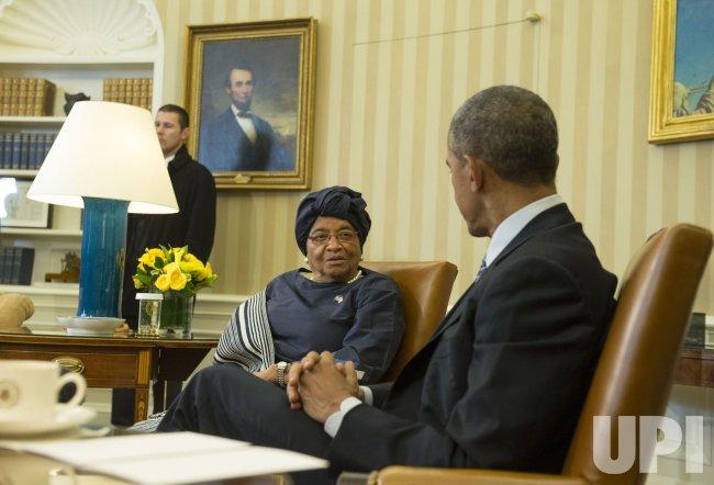 President Barack Obama meets with Liberian President Ellen Johnson Sirleaf in Washington, D.C.