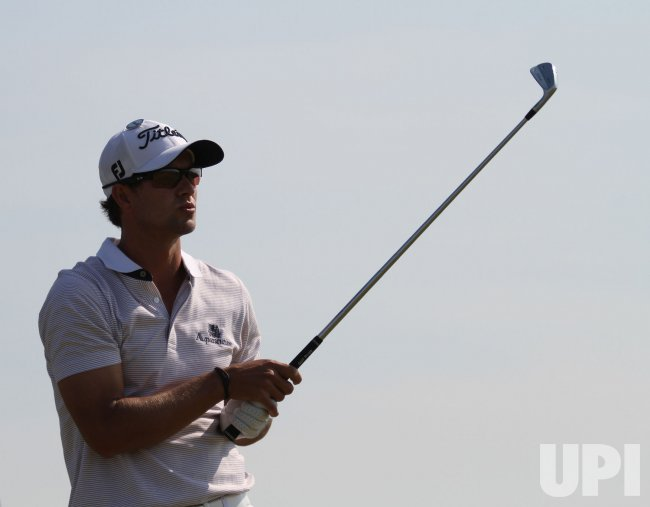Adam Scott on the 6th hole during the Open Championship in England.