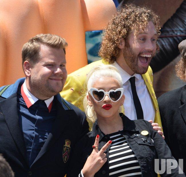 James Corden Christina Aguilera And Tj Miller Attend The Emoji