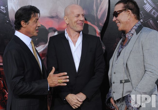 "Sylvester Stallone, Bruce Willis and Mickey Rourke attend ""The Expendables"" premiere in Los Angeles"