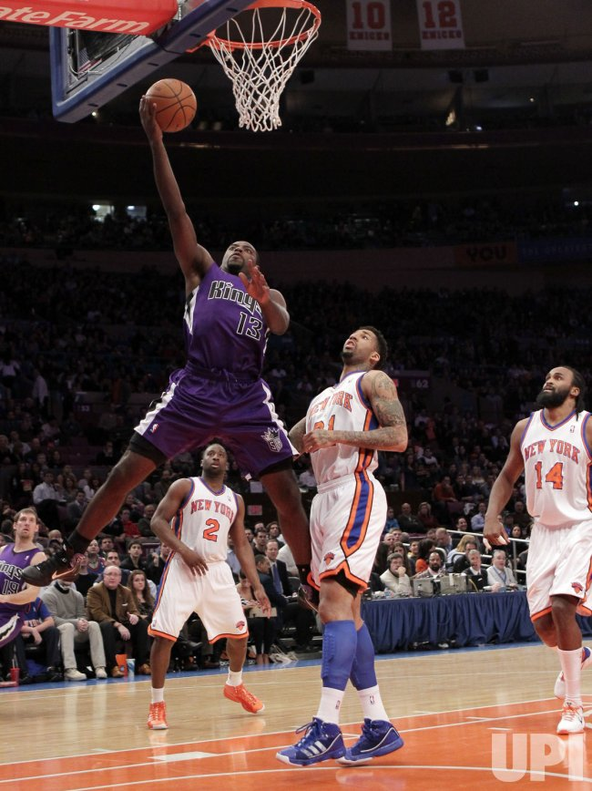 Sacramento Kings Tyreke Evans (13) drives to the basket at Madison Square Garden in New York