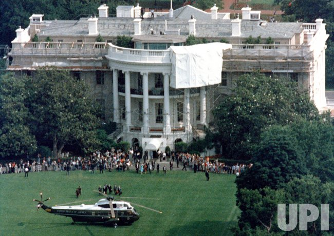 Birds Eye View Of The South Lawn Of The White House As
