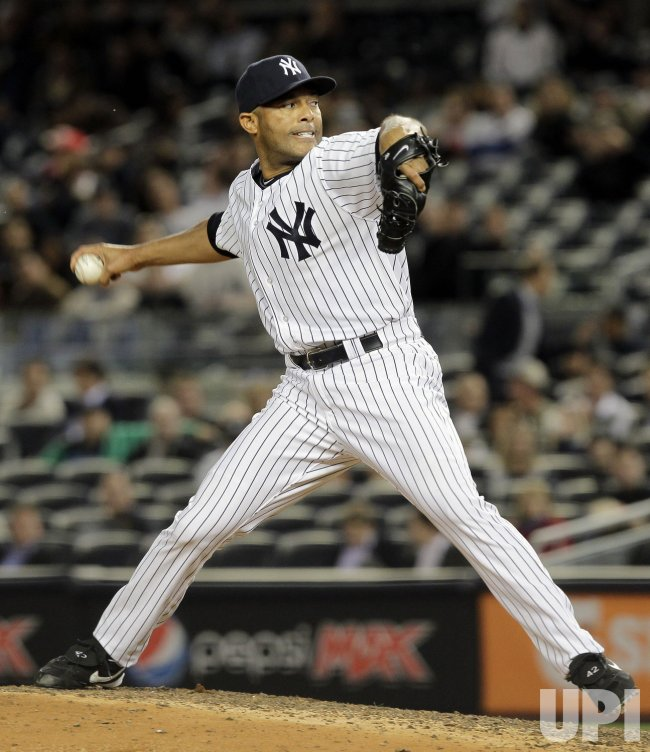 New York Yankees closer Mariano Rivera throws a pitch at Yankee Stadium in New York