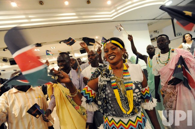 Southern Sudanese refugees dance during independence celebrations in Tel Aviv, Israel