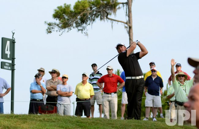 Graeme McDowell watches drive during the TPC Players in Florida