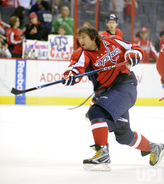Capitals Ovechkin warms up before playing Canadiens in Washington