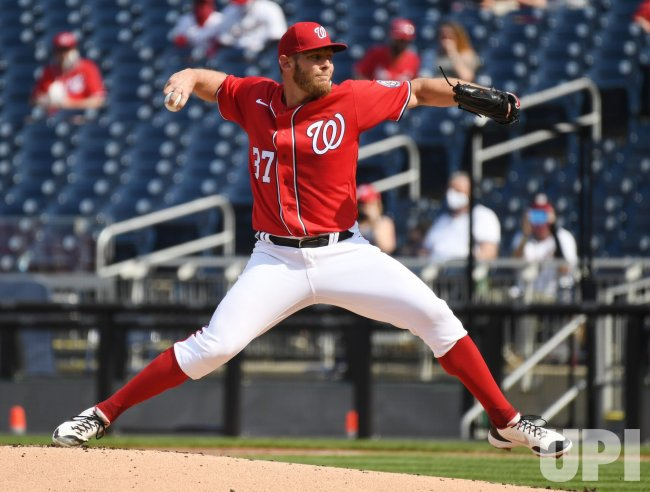 Nationals Stephen Strasburg Pitches Against the Braves in Washington