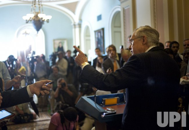 Senate Majority Leader Harry Reid speaks to the media in Washington