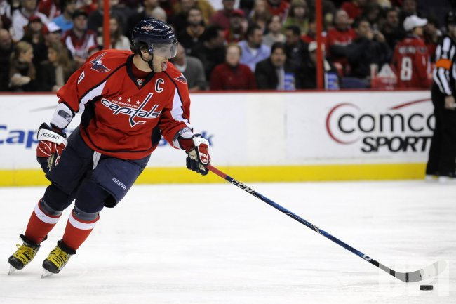 Alex Ovechkin Skates Against the Anaheim Ducks in Washington, DC